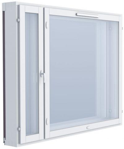 Kuvassa KLIK raitisilmaventtiili ikkunaan on havaittavissa puitteen yläosassa.