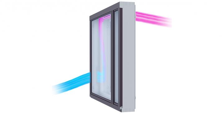 Talvella KLIK raitisilmaventtiili esilämmittää ilmaa ikkunan välitilan lämmön avulla.